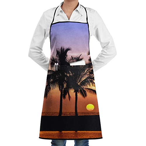 Mikonsu Sunset Pacific Lanikai Hawaii Colorful Sky Wavy Apron Men Women for Kitchen,Cooking,Chef,BBQ Apron Stain Oil Resistant with Pocket Belt Adjustable Easy Comfortable-20x28in