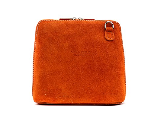 Pelle Real Bag Cross Designer Orange Italian Shoulder Body Suede Strap Vera Womens Genuine London Craze Small wafqvT6T
