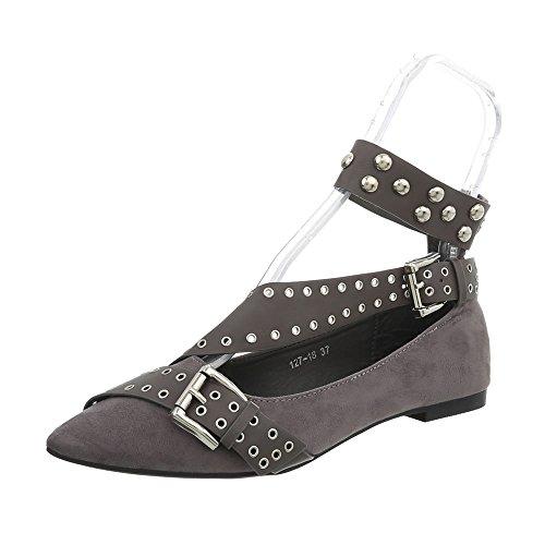 Women's Heel at Grey Ballet Flats 127 18 Flats Ital Classic Block Design Ballet OSwwA
