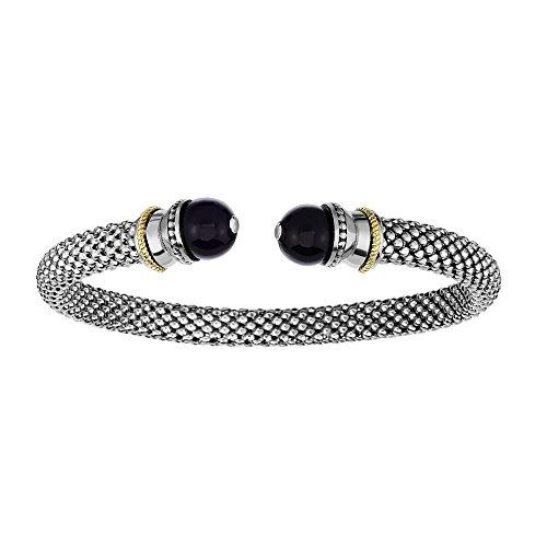 (Sterling Silver Rhodium 18k Yellow Gold 6mm Domed Popcorn Cuff Bangle Bracelet Ball Black Onyx)