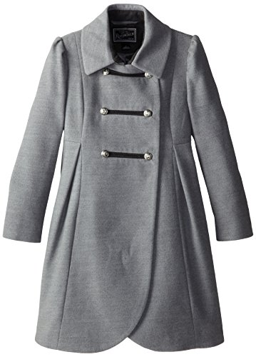 Rothschild Big Girls' Faux Wool Petal Front Military Coat, Pale Grey, 16 by Rothschild