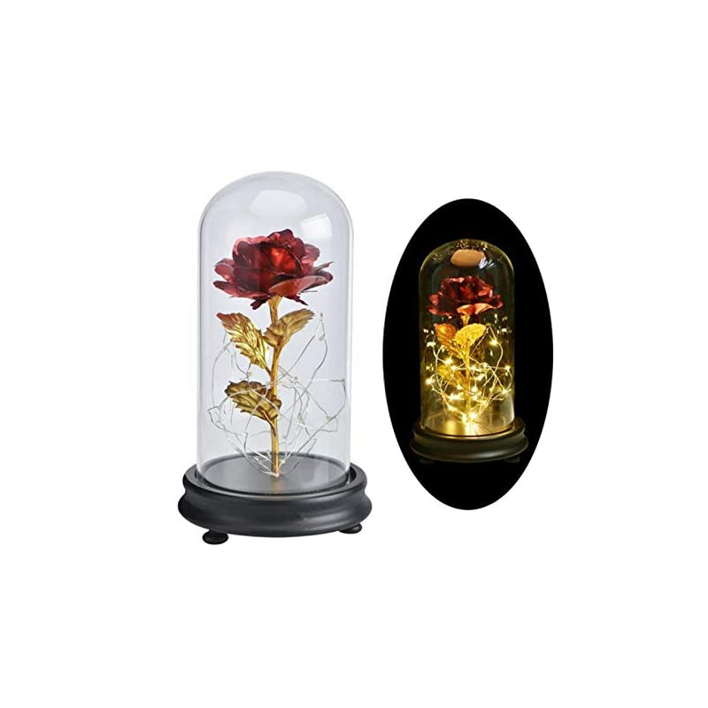 silk flower arrangements smartcoco beauty and the beast led gold foil rose in a glass dome on a wooden base for christmas mother's day birthday wedding anniversary valentine's best gift