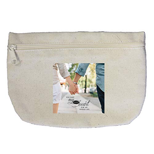 Couple Walking Together Whole Heart For Whole Life Cotton Canvas Makeup Bag by Style In Print