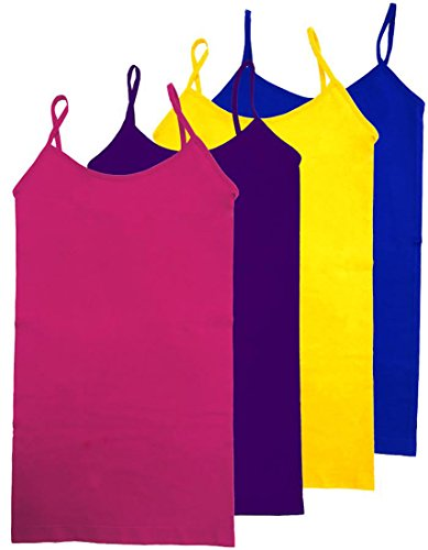 HL California Camisole Spaghetti Strap 4-Way Strech Seamless Top VALUE PACK (4PK FUSHIA/PURPLE/YELLOW/ROYAL - Women Camisole Solid Set
