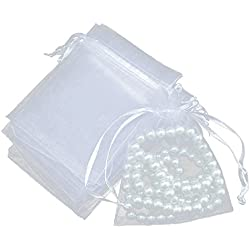 100Pcs Thick Drawstring Yarn Bag Jewelry Pouch Wedding Party Pocket Gift Bags Set White 4x6""