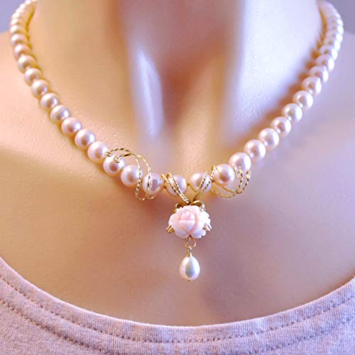 - Cultured Freshwater Blush Pearl Necklace with Vintage Angel Skin Coral Rose, 14K Gold Clasp