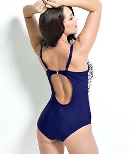 HZZ Los estampados florales de las mujeres de una pieza del traje de baño más del tamaño que forma el cuerpo Beachwear Monokinis hidden blue