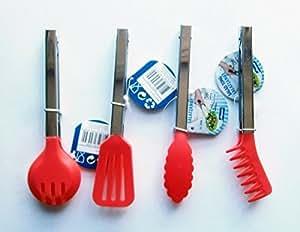 Cocina Alicate Juego Rojo Acero inoxidable Pinzas espátula–Pinzas para ensalada (Pinza para espaguetis)