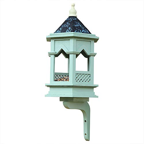 Classical Gothic Wooden Hanging Bird Table, Feeders Wild Bird Pavilion Rainproof Feeding Table Landscape Gardening Painted Blue