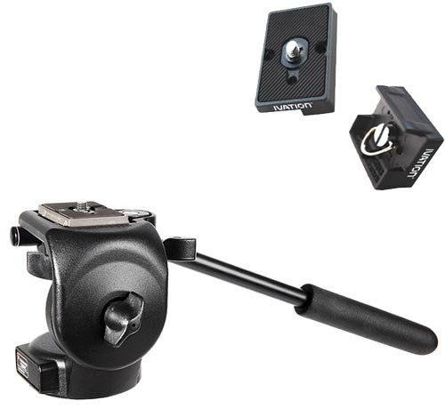 Manfrotto 128RC Micro Fluid Head with Two Replacement Quick Release Plates for the RC2 Rapid Connect Adapter by Manfrotto
