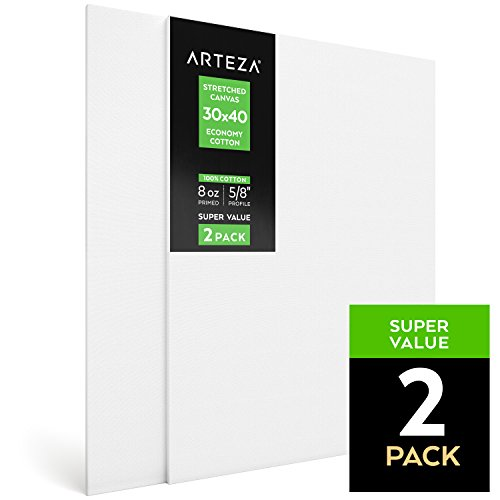 Arteza 30X40 Stretched Canvas Economy Cotton Pack of 2