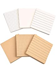Sticky Notes Self-Stick, 6 Pcs Sticky Notes Self-Stick with Square Lattice, Horizontal Line (White Brown)