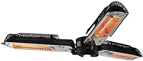 ポータブルパラソルパティオヒーター、2000Wの電気赤外線ハロゲンヒーターライト 屋内/屋外バルコニーのための3枚の折りたたみ暖房パネルと