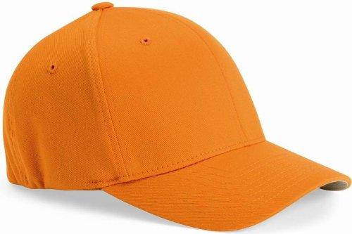 Fitted Orange Cap - Flexfit Wooly 6-Panel Cap (6277)- ORANGE, L/XL