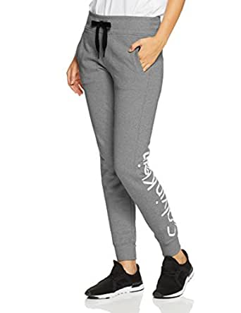 Calvin Klein Women's Terry Jogger Pant with Logo on Back Leg, Grey (Pearl Grey Heather), M