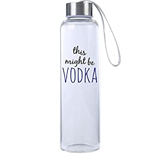 Mad 2 Order Inspirational Fitness Water Bottle, Workout Glass Bottle, BPA Free, Glass, Laugh Everywhere With This 20 oz. Trendy Water Bottle! (This might be VODKA Blue)