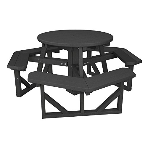 POLYWOOD Park Picnic Table Finish: Slate Grey (With Benches Picnic Table Polywood)