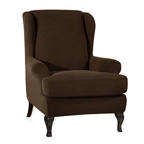 CHUN YI 2-Piece Stretch Jacquard Spandex Fabric Wing Back Wingback Armchair Chair Slipcovers (Coffee, Wing Chair) by CHUN YI