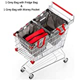 Reusable Grocery Shopping Bags by The Barista House with Insulated Produce Bag - Eco Friendly - Hooks to Secure On Your Shopping Trolley, Easy Hook on and Off (3)