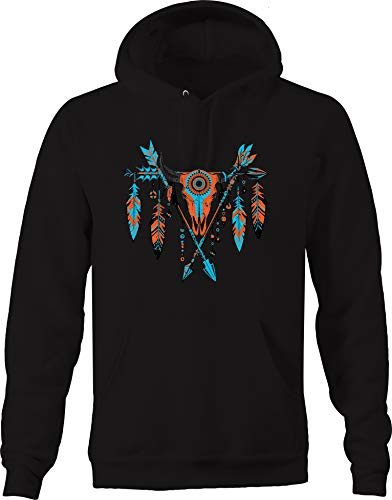 Native American Indian Bull Skull Feathers Cross Arrows Culture Sweatshirt - XLarge