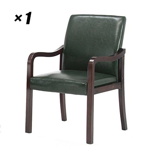 Dining Room Chairs Solid Wood Backrest Seat Simple Office Chair For Household, Kitchen, Conference 57×59×92cm (Color : Dark green, Size : Set of ()