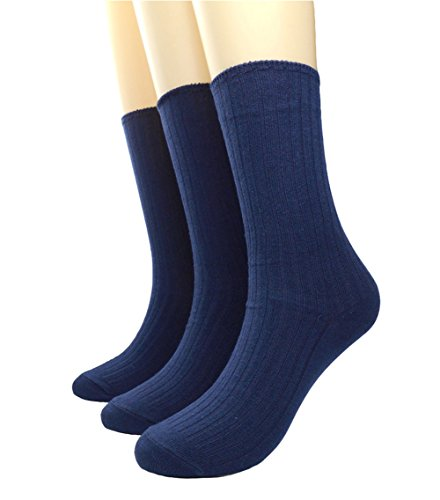 Navy Cotton Socks - BLACOCO Women's Pure Color Simple Sock Soft Comfort Casual Cotton Crew Socks (Navy Blue)