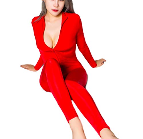 Moon Market Women's Lingerie Long Sleeve Bodystocking Crotchless Panties Bodysuits Sexy Underwear Spandex Catsuit Club Costume (Red) ()