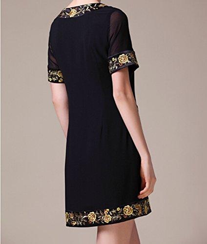 E Abito Americana Moda Black A Corte Zhangyuqi Europeo Maniche kwPn0O