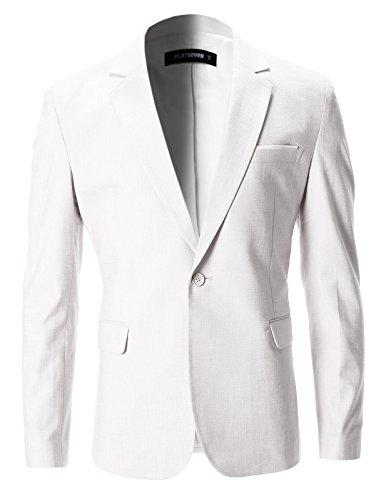 FLATSEVEN Mens Slim Fit Cotton Stylish Casual Blazer Jacket (BJ202) White, (City Blazer)