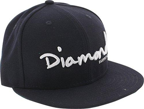 Diamond Supply Co OG Script Navy Blue Fitted Hat - 7 3/4''