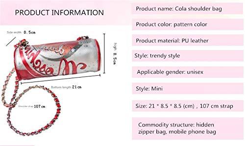 Linshenyoulu Snygg och enkel Cola Look Diagonal Axelväska Mini Rymden PU-läder Material är fast och säkert kan förvara några små föremål