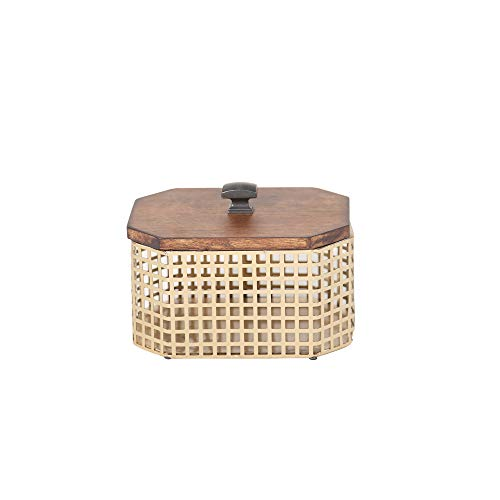 Sagebrook Home Bronze/Brown Metal Iron & Wood Decorative Box, 7.5