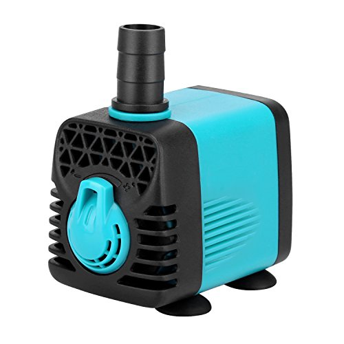 High Flow Submersible Pumps (KEDSUM 130GPH Submersible Pump (600L/H,10W), Ultra Quiet Water Pump with 3ft High Lift, Fountain Pump with 4.6ft Power Cord, 2 Nozzles for Fish Tank , Pond , Aquarium, Statuary, Hydroponics)