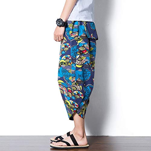 Harem D'été Pants De Blue Hippie Chic Plage Pantalons Lin Navy Baggy Bas 77 Hommes Impression Bolawoo Teens Boho Pantalon En Mode Aladdin Loisirs RS6FxnZf