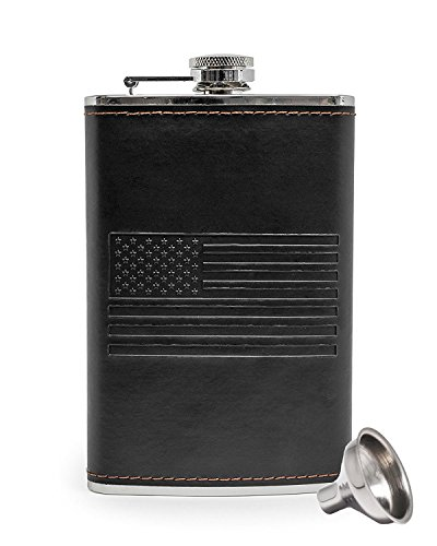 American Flag Flask - Stainless Steel 8 oz Hip Flask & Flask Funnel - Everything You Need to Drink on the Go - BarMe (Black)