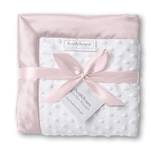 (SwaddleDesigns Stroller Blanket, Cozy Microfleece, Plush Dots with Pastel Pink Satin Trim)