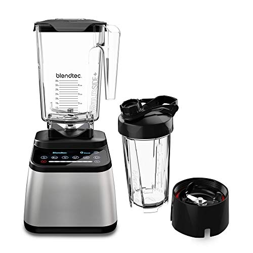 Blendtec Designer 725 Blender - WildSide+ Jar (90 oz) and Blendtec GO Travel Bottle (34 oz) BUNDLE - Professional-Grade Power - Self-Cleaning - 6 Pre-Programmed Cycles - 100-Speeds - Stainless/Black