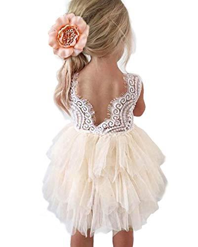 Baby Dress Back - Backless A-line Lace Back Flower Girl Dress (1T, Ivory)