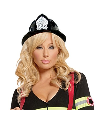 Sexy Firefighter Hat Adult Roleplay Costume Accessory, One Size, Black (Slutty Firefighter Costume)