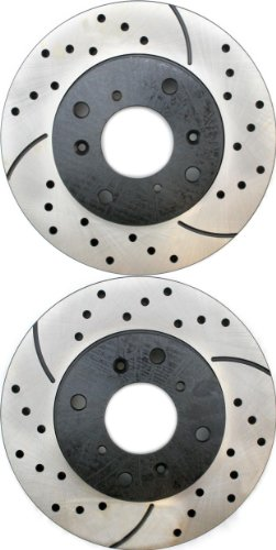 Prime Choice Auto Parts PR41245LR Drilled and Slotted Performance Rotor Pair for Front