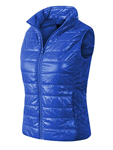 (Instar Mode Women's Casual Lightweight Quilted Padding Vest Royal Blue)