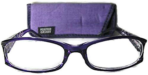 Foster Grant Purple Dazzling Reading Glasses with Rhinestones on Temple