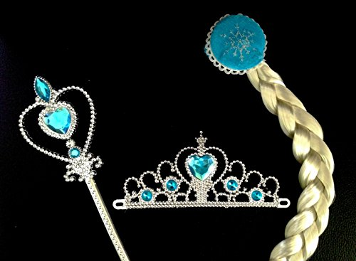 Princess Costume Accessories Set Including Tiara Snowflake Wand Braid (Aphrodite Costume Child)