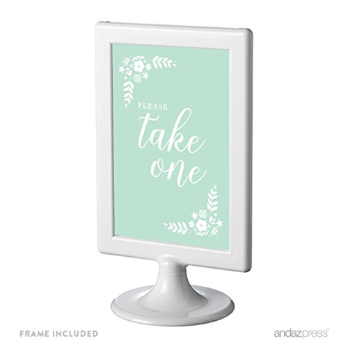 Andaz Press Floral Mint Green Wedding Collection, Framed Party Signs, Please Take One, 4x6-inch, 1-Pack, Includes Frame, Programs, Hand Fans Table Signage
