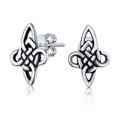 Mens Women Irish Celtic Cross Knot Work Small Stud Earrings Oxidized 925 Sterling Silver
