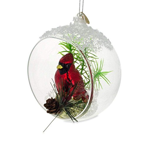 - BestPysanky Red Cardinal Bird Inside Glass Ball Christmas Ornament 4.4 Inches
