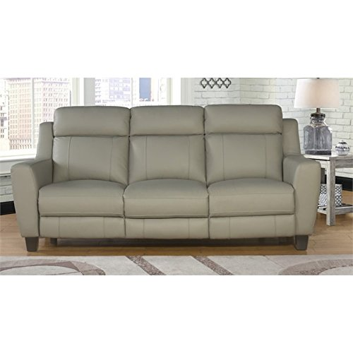 Abbyson Living Felice Leather Power Reclining Sofa In Gray