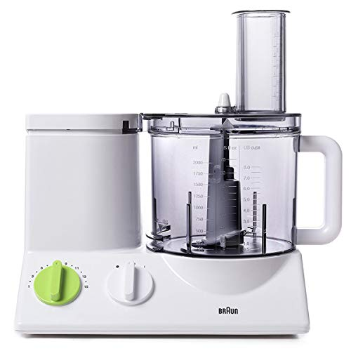 Braun FP3020 12 Cup Food Processor Ultra Quiet Powerful motor, includes 7 Attachment Blades + Chopper and Citrus Juicer , Made in Europe with German Engineering (Processors Food Dough)