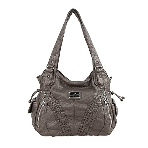 Angelkiss 2 Top Zippers Closure Multiple Pockets Purses and Handbags Soft Leather Shoulder Handbags 1555 (Grey)