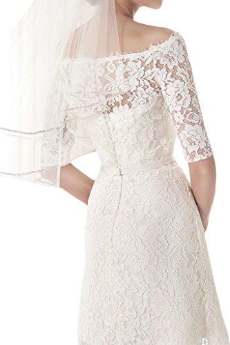 Ivydressing - Vestido corto de noche para mujer, manga media, cuello en U, ideal para boda Beige